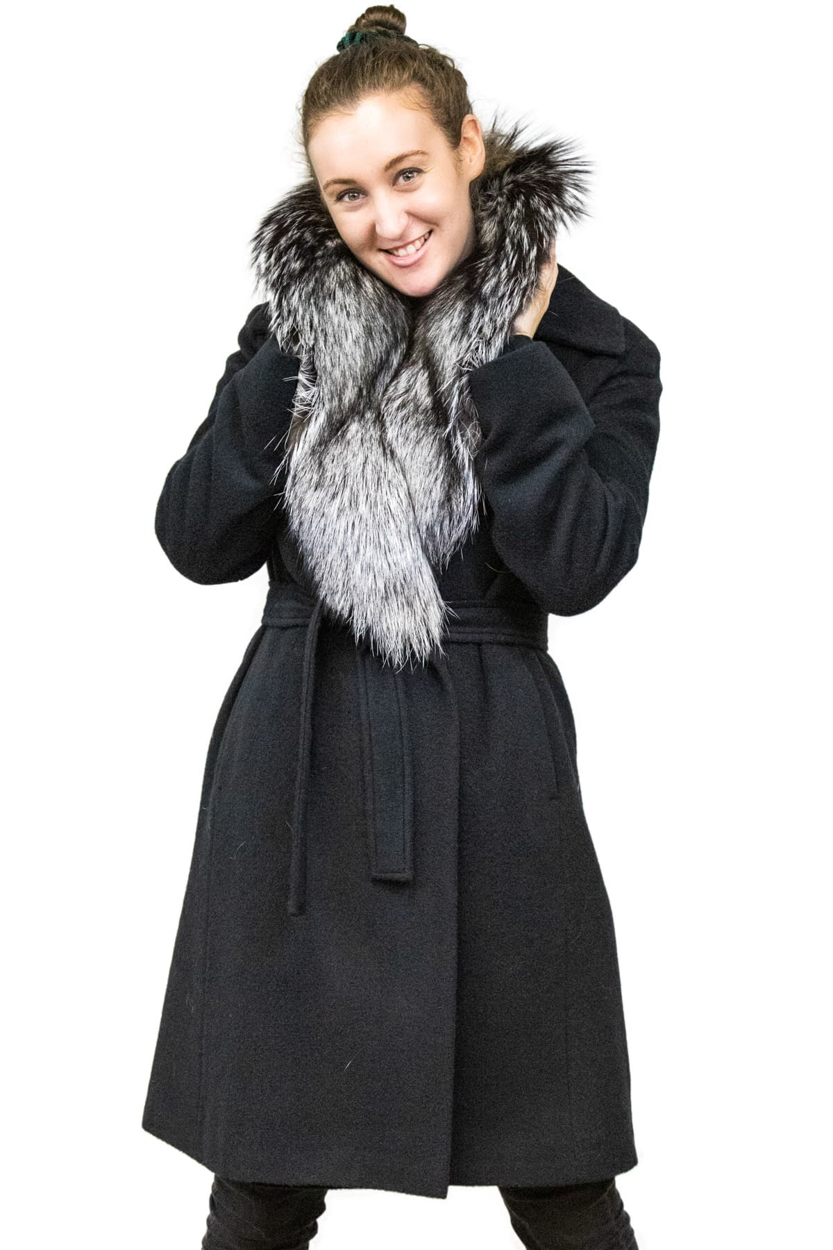Alpaca Coat with Detachable Fox Collar
