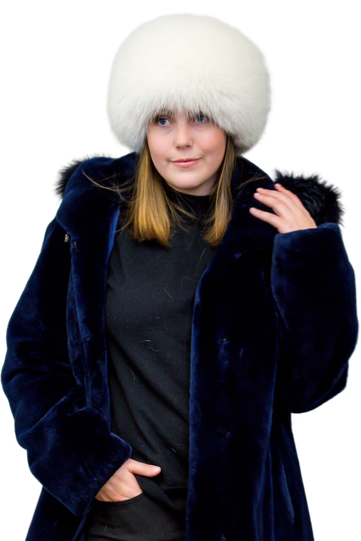 Pillbox Fox Fur Hat
