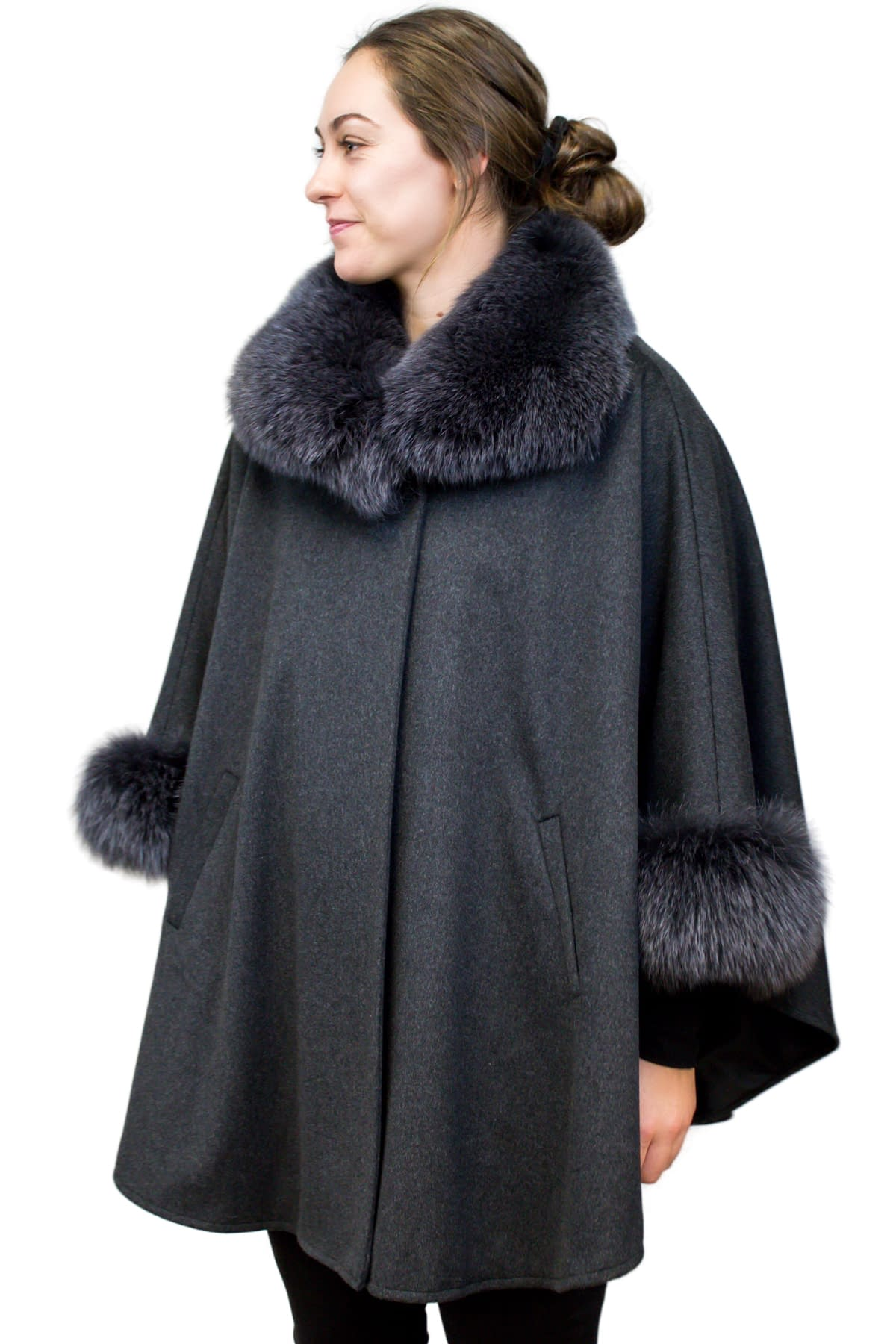 Loro Piana Fine Wool Cape with Fox Fur Trim