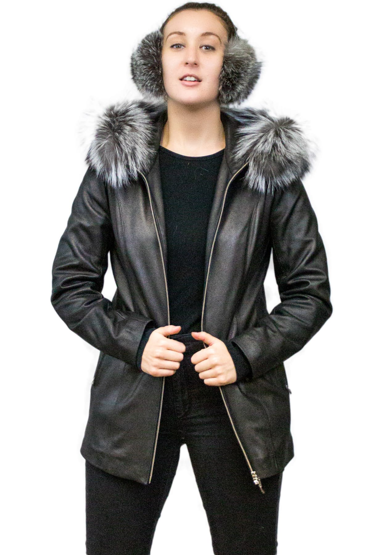 Leather Jacket with Fox Fur