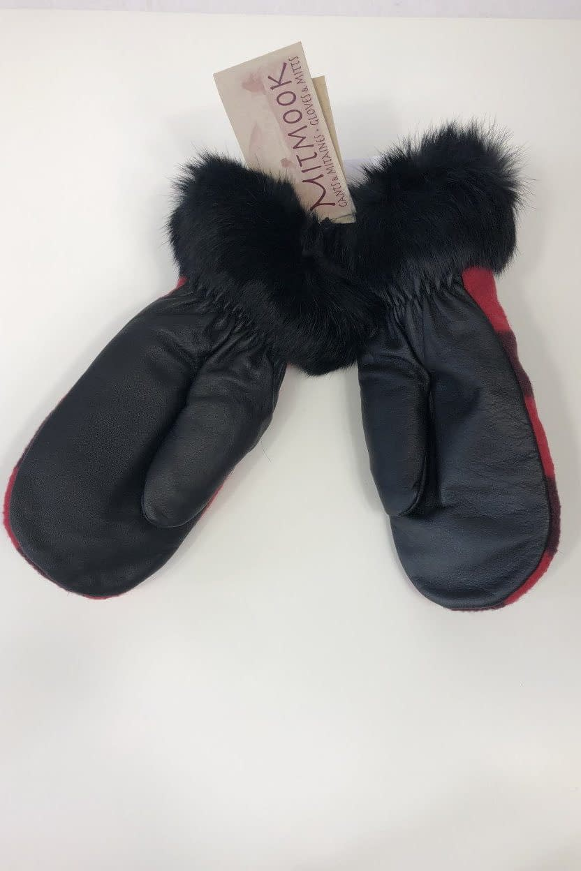 Leather Mittens with Rabbit trim