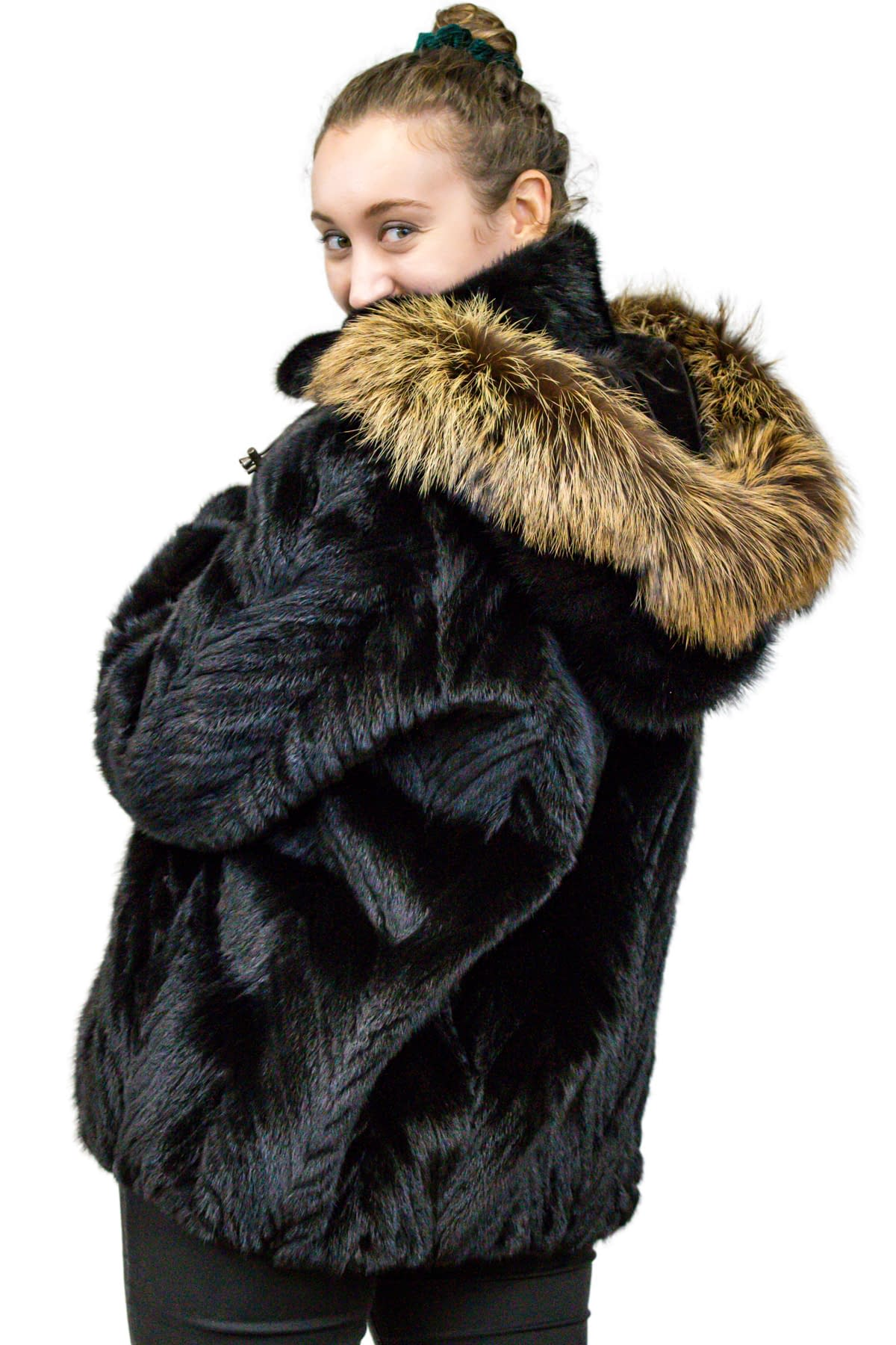 Mink Tail Jacket with Detachable Fox Fur Hood
