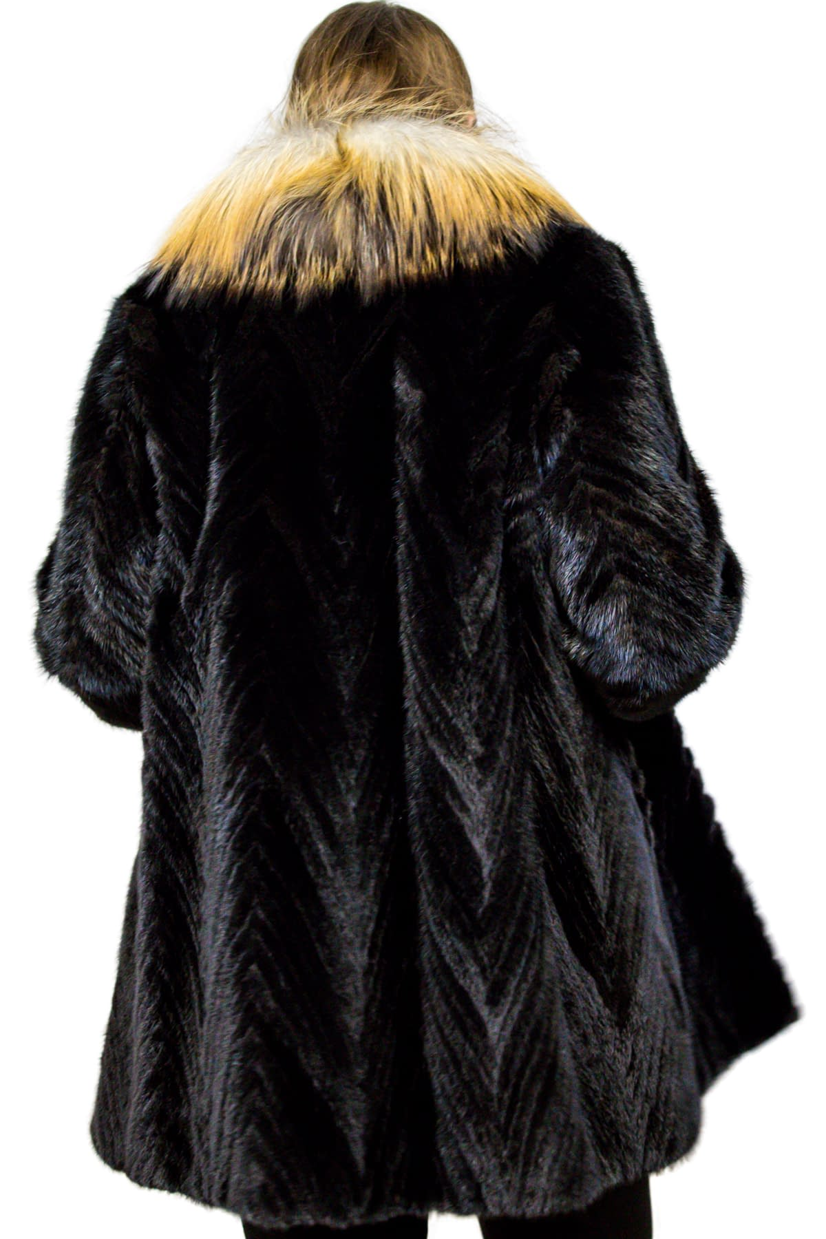Mink Tail Stroller with Fox Fur Collar