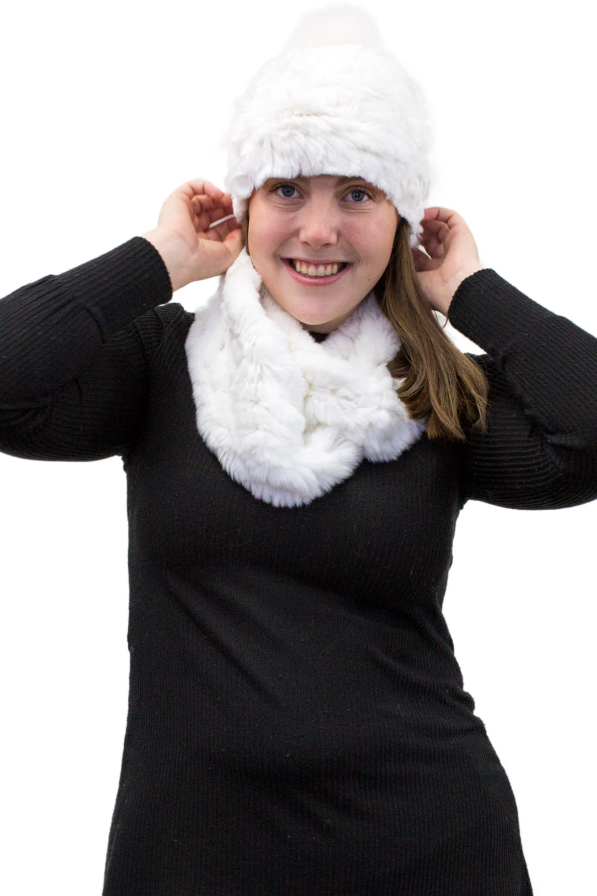 Rex Rabbit Knit Hat with Fox Fur Pom Pom