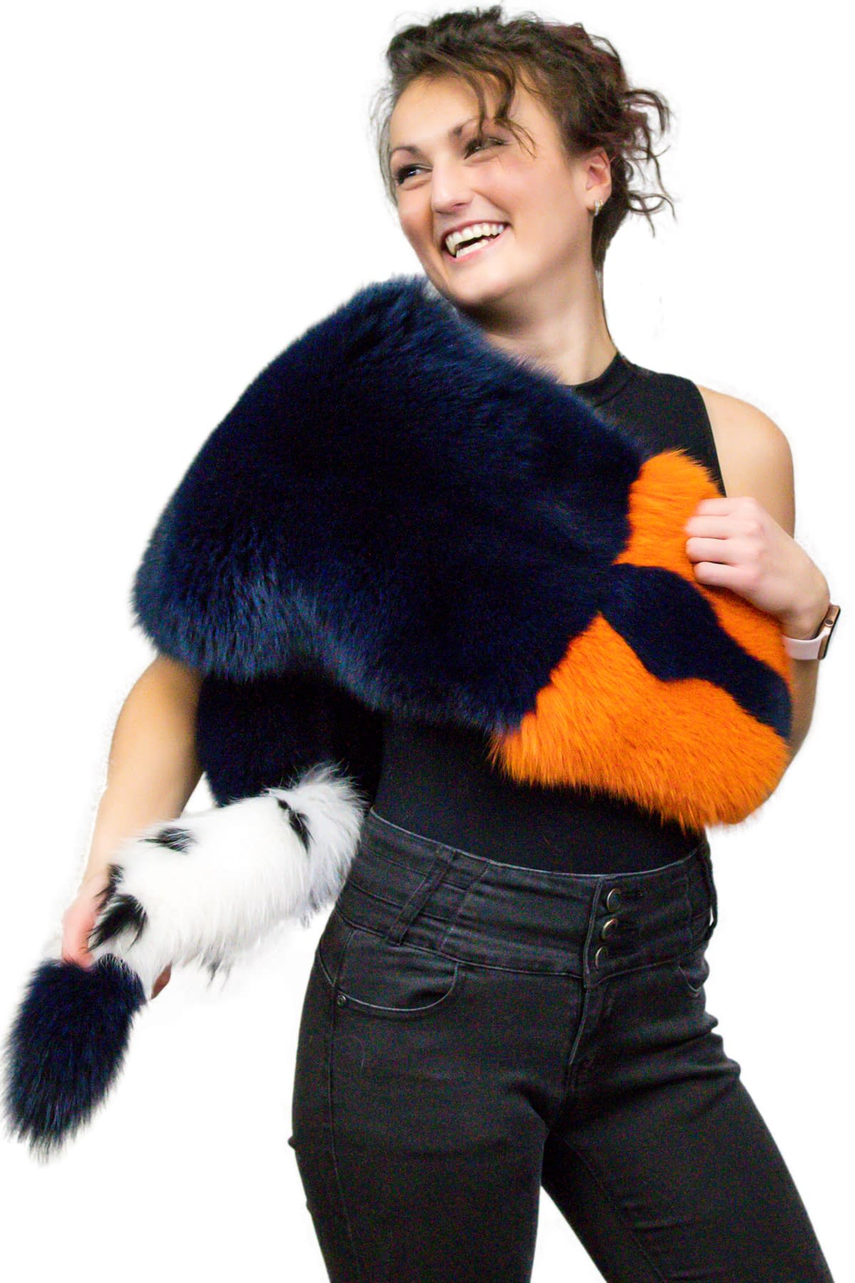 Multicolour Dyed Fox Fur Scarf