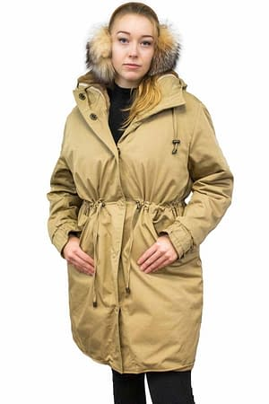 Cotton twill parka with sheared natural demi buff mink