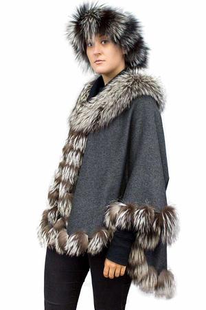 Cashmere Cape with Silver Fox Fur Trim