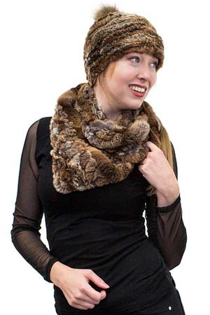 Rex Rabbit Knit Hat with Fox Fur Pom Pom