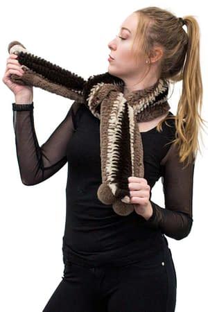Knitted Rex Rabbit Herringbone Scarf