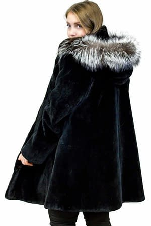 Sheared Beaver Coat with Fox Fur