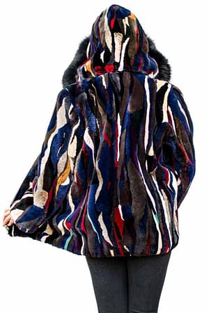 Multicolored Sheared Beaver Jacket