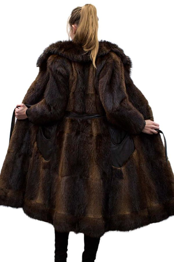 Vintage Muskrat coat with Raccoon and Leather