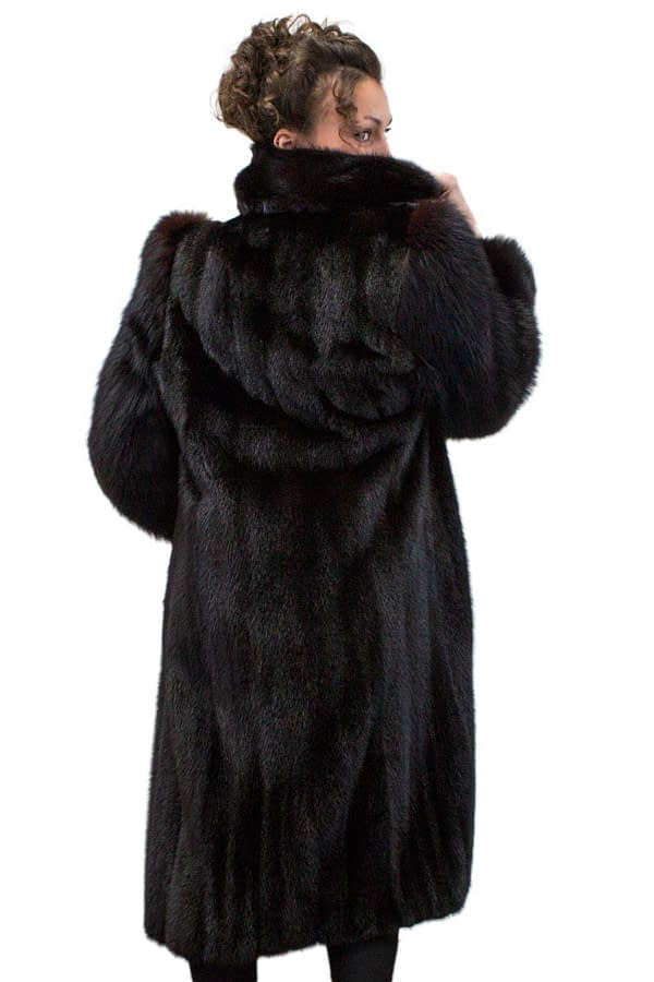 Vintage Dark Ranch Mink Coat with Fox Sleeves