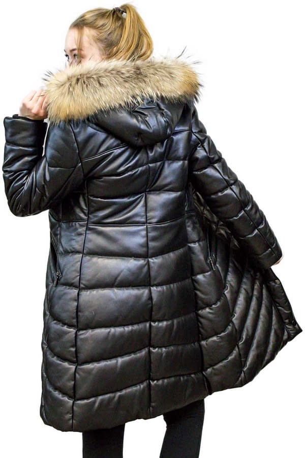 Leather quilted coat with Raccoon trim